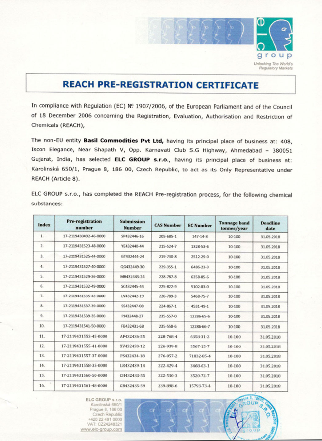 REACH PRE-REGISTRATION CERTIFICATE